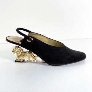 Vintage 90s Suede Slingback Acrylic Wedge Heels